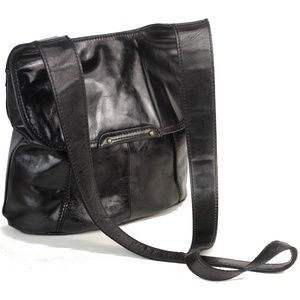 HOBO ROCKLER Leather Crossbody Messenger Bag Black